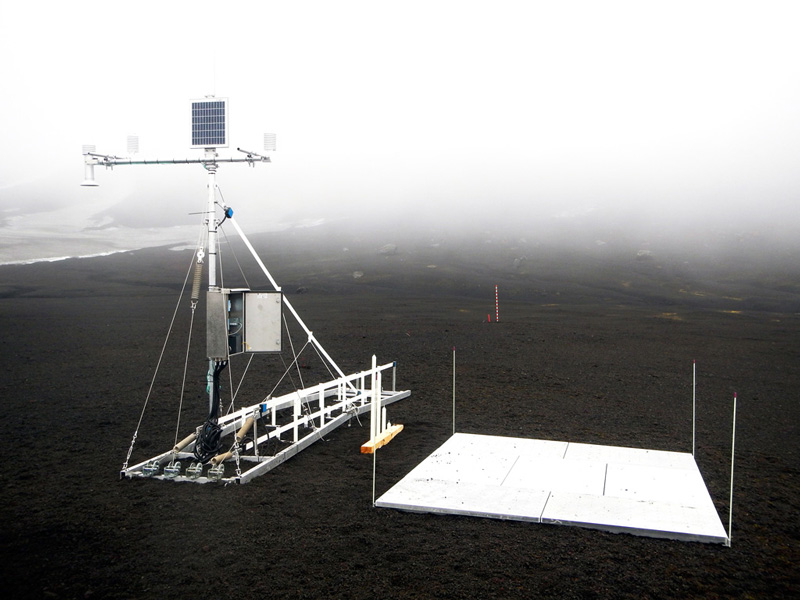 snow monitoring station on antarctica
